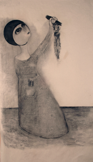 If I die, let it be with the charcoal very high. 175x105cm