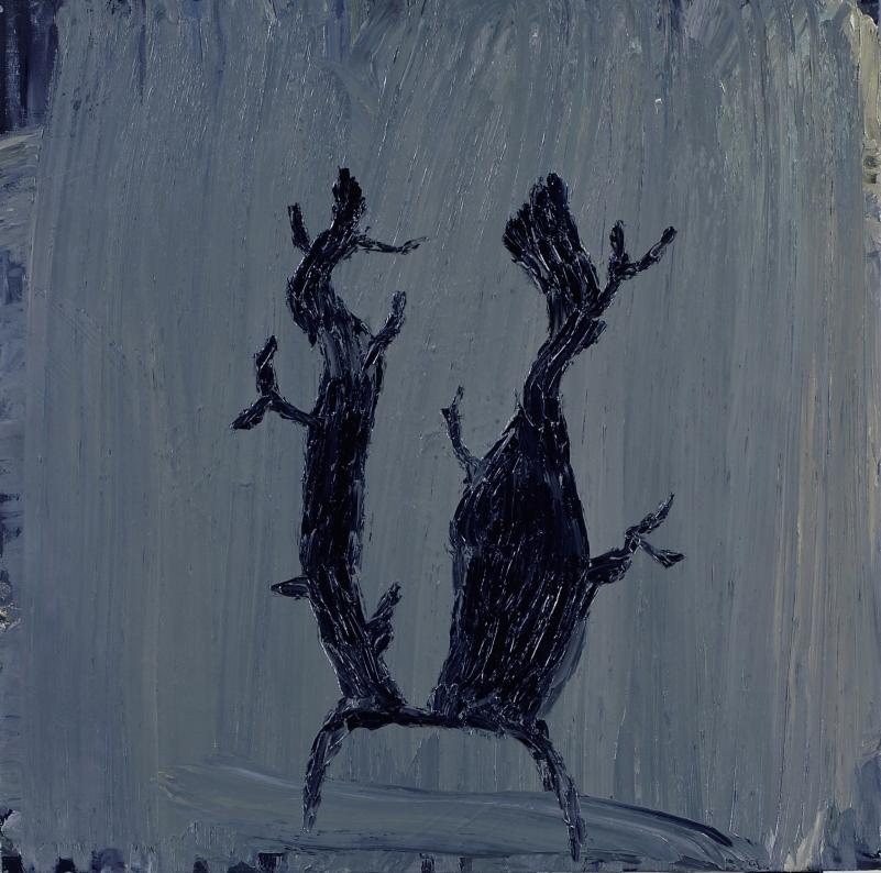 Cuernos de ciervo. 70x70cm. Oleo sobre lienzo.