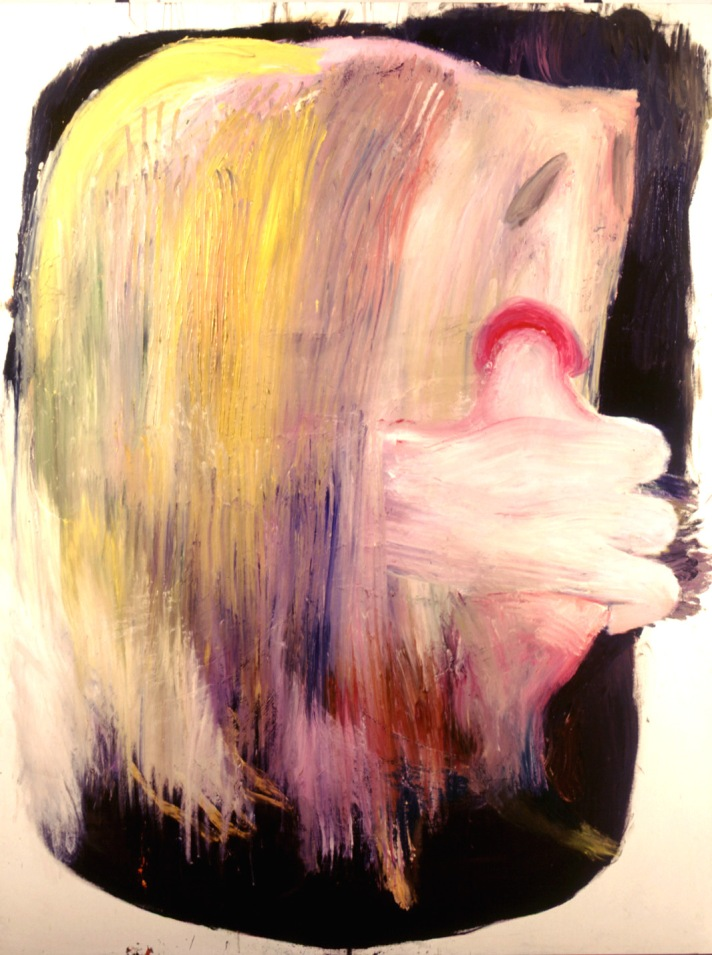 Mujer comiéndose una paloma.  Oleo sobre lienzo. 200x150cm.