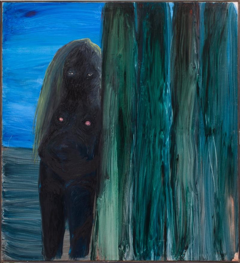 Negra en el parque de atracciones. 180x180cm. Oleo sobre lienzo.