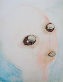 Stone eyes Oil on wood. 35x26cms.